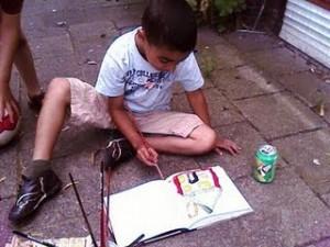 Brahim schildert een huis